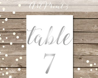 Printable Wedding Table Numbers 1-30, Silver Printable 5x7 Table Numbers, Wedding Table Numbers Printable, Grey Table Numbers Printable