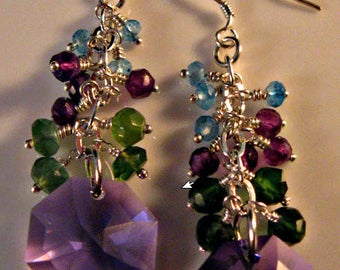 Amethyst Cluster Earrings,gemstone earrings,dangle earrings,drop earrings,amethyst earrings,crystal earrings,Swarovski crystal earrings