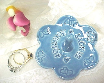 Wedding Ring Dish, Custom Ring Holder, Personalized Names Ring Bowl, Unique Gift for Her, Made to Order Jewelry Ring Storage, Anita Pottery