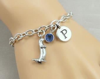 River Otter Charm Bracelet, Otter Bracelet, Initial and Birthstone Bracelet, Silver Plated Link Charm Bracelet