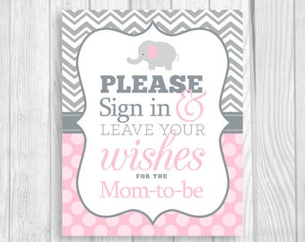 SALE Please Sign in & Leave Your Wishes 8x10 Printable Elephant Baby Shower Mom-to-Be Guest Book Sign Gray Chevron and Light Pink Polka Dots