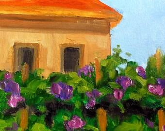 Provence VINEYARD Villa Impressionist Painting Plein Air Landscape Art Lynne French o/c 8x10