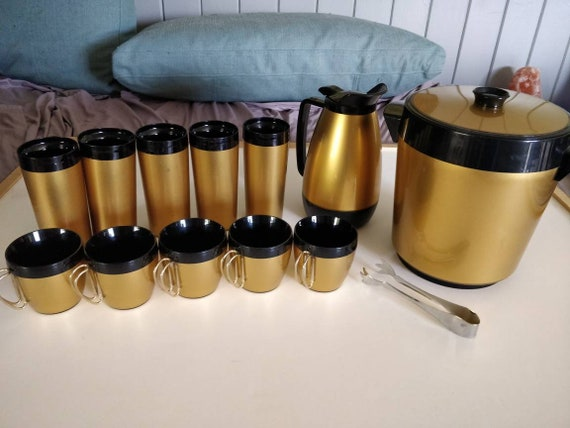West Bend Thermo Serv Mug Tumbler Carafe Ice Bucket - Gold Black - Mid Century