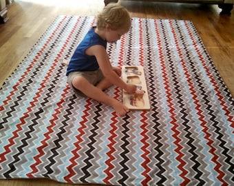 Waterproof Baby Play Mat or PICNIC BLANKET - Riley Blake Speedster Chevron - Blue Gray Red
