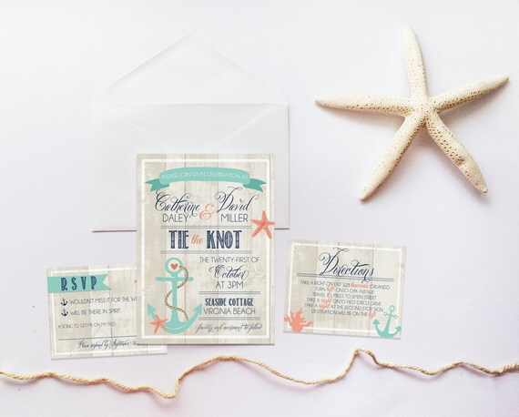 The Knot Addressing Wedding Invitations: Beach Wedding Invitation Set DEPOSIT Nautical Boho Anchor