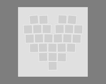 Heart Photo Template, Collage, Photographers, Storyboard, 24x24