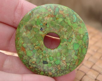 """SALE:  45mm Mosaic """"Turquoise"""" Donut Focal Bead (Dyed Green, Assembled Magnesite and Resin) - 20% Off"""