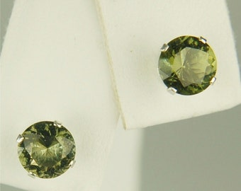 Moldavite Faceted Stud Earrings 6mm Round 1.50ctw  Rare And Beautiful Natural And Untreated