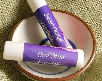 Lip Balm - Sweet Orange or Cool Mint - Made with beeswax from our organically managed bees!