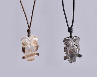 Sea Shell Owl Handmade Charm Pendant Necklace Jewelry