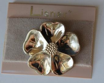 Vintage NEW Lisner Gold Tone Flower Brooch