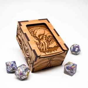 D&D Gaming Dice Box - Cthulhu H. P. Lovecraft - Dungeons and Dragons Dice Box - Personalized Rpg Dice Box - Mtg Tcg or Tabletop Gaming