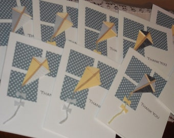 SALE Thank You Cards Kites Blue Skies, Baby Shower, Birthday, Bridal