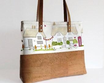 Cork Bag, English Cottage Tote Bag, Mother's Day Gift, Eco Friendly Shoulder Bag, Vegan Gift for Women