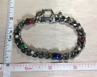 """Vintage 7.5"""" Silver Toned Chain Bracelet Blue Green Red Stones Faux Fake Pearls Used"""
