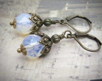 Opal Glass Earrings, Antiqued Dangle Drop, Victorian Wedding, Steampunk Wedding, Bridesmaid Earrings, Ornate Golden Earrings, Hawaii Jewelry