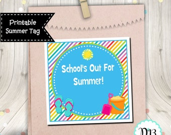 School's Out For Summer End of School Year Square Tag Gift Tag Digital Printable INSTANT DOWNLOAD