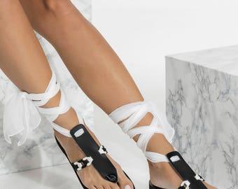 Black leather sandals, T-Strap sandals, Ankle Wrap Flats,  Ermioni design NEW