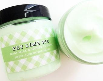 Key Lime Pie Lotion, Body Butter, Cream, Moisturizer, Hand Cream, Goat Milk Lotion, 5oz