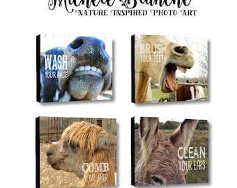 Des animaux de ferme en toile art salle de bain, la photo typographie, ensemble de salle de bain à la ferme. Brossez votre art de ferme rustique de dents. Laver la salle de bain de votre enfant de visage.