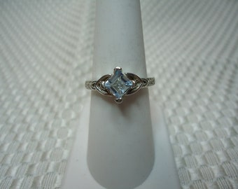 Princess Cut Aquamarine Ring in Sterling Silver  #2265