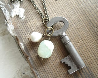 Skeleton Key Necklace. Gemstone Necklace. Antique Key Necklace. Pearl, Peruvian Opal Stone Necklace. Artisan Gemstone Jewelry. Boho Gift.