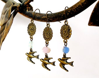 SALE - Bird Earrings - Bridesmaid Earrings - You Pick Your Color