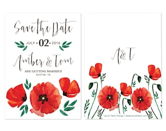 Poppy Flower DIY Printable Save the Date
