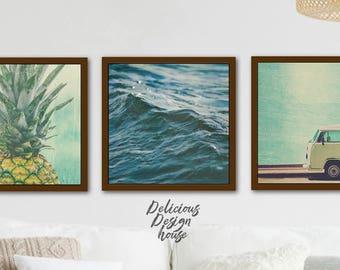 Printable Art Bundle Pineapple Print Ocean Wall Set of Prints / Coastal Wall Art Set Large Wall Art Set of 3 / Ocean Coastal Decor