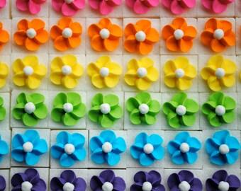 Royal Icing Flowers on Sugar Cubes-  Rainbow Mix (25)