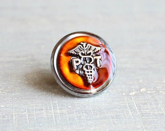 orange physical therapist pin, pt pin, tie tack, physical therapist graduation gift, pt graduation, medical profession, birthday gift