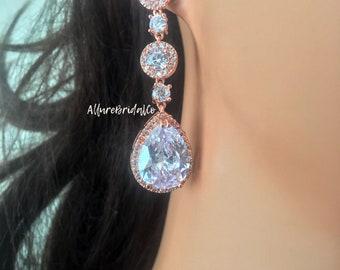 Rose Gold Bridal Earrings, Rose Gold Wedding Earrings, Rose Gold Earrings, Rose Gold Drop Earrings, Rose Gold Chandelier Earrings,