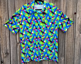 Neom Green and Blue Zig Zag Spandex Button Up Party Shirt