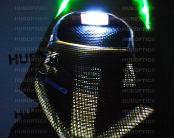 Cosplay LED Mask Props Rave Stilt Robot PRJ5 Warhead FX DJ Mask Gigs Cyber Cyborg helmet Party Costume Sound Reactive helmet party wardrobe