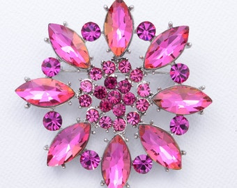 Pink Brooch, Pink Bridal Brooch, Pink Wedding Brooch,  Rhinestone Pink Brooch, Crystal Pink Brooches, Pink Bouquet Brooches.
