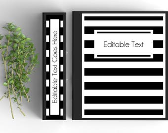 Black and White Stripe Monogram Binder Cover-Personalized Binder Inserts and Spines (8.5x11in)- Printable Binder Covers-Editable