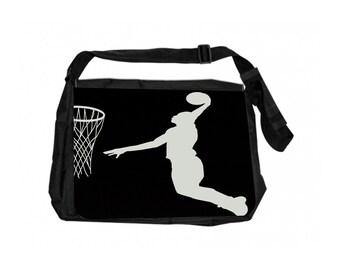 Basketball Game Silhouette Black School Shoulder Messenger Bag