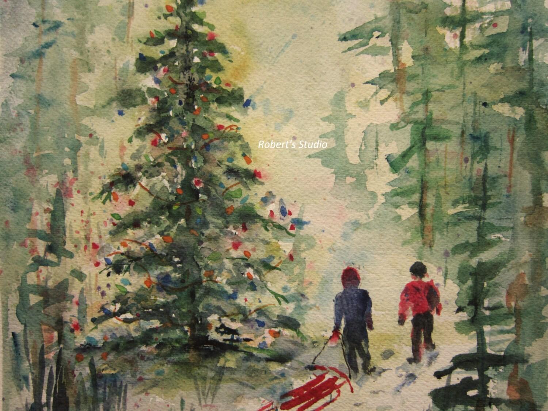 Christmas Painting Christmas Tree Print Of Original