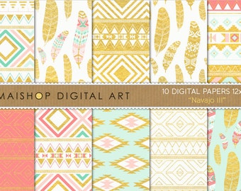 Digital Paper Pack 'Navajo III' Mint, Coral and Gold Foil Aztec Tribal Feathers Patterns for Stickers, Cards, Scrapbook, Invitations...