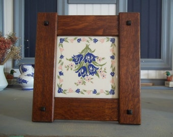 "Arts & Crafts 6"" X 6"" Tile Frame Handcrafted Mission Style Quartersawn White Oak Mission Style"