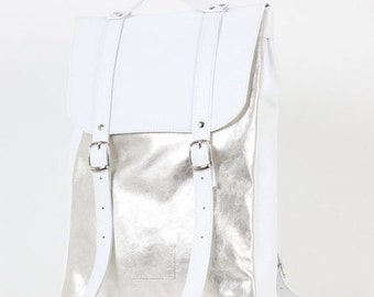 SALE! / Silver-white colored middle size leather backpack / In stock / Leather Backpack / Leather rucksack / Womens backpack / Gift