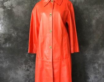Vintage 1960's Bonnie Cashin orange leather coat medium