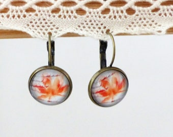 Earrings Orange maple leaf glass cabochon