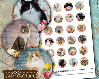 Cat Collage Sheet 30mm Circle Images Kitten Collage Sheet Flower Images Printable Collage Jewelry Supply Circle Images Pet Images