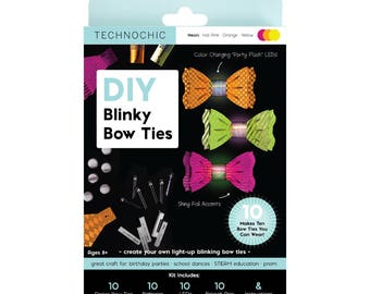 TechnoChic Blinky fliegen-Kit - Neon - Hot Pink, Orange, gelb, Tech-Craft Bausatz für Dampf, Partys, DIY-Licht-Up fliegen sind cool!