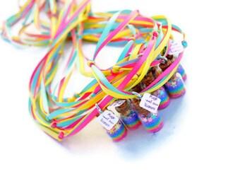 Unicorn Necklaces, Magic of a Unicorn, Unicorn Party, pastel, rainbow, stars, Ribbon, Glitter,