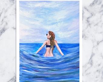Damsel in The Ocean Painting Art Acrylic Original // 9 × 12 on Paper
