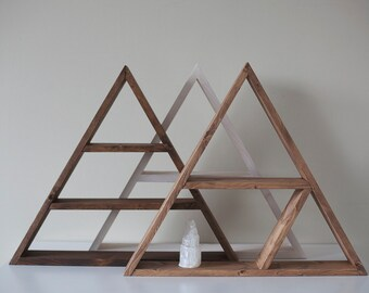 "Solid Wood Pyramid - Triangle Shelf 13.5""x 3"" . Different design & Color"