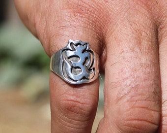Om Ring, Silver Om Ring, Sterling Om Ring, Silver Knuckle Ring, Silver Band