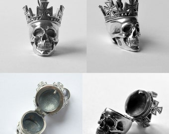 Skull in the crown with cache Nielloed Sterling Silver Pendant, Cranium Pendant with cache Sterling Silver Premium Quality, Limited Edition